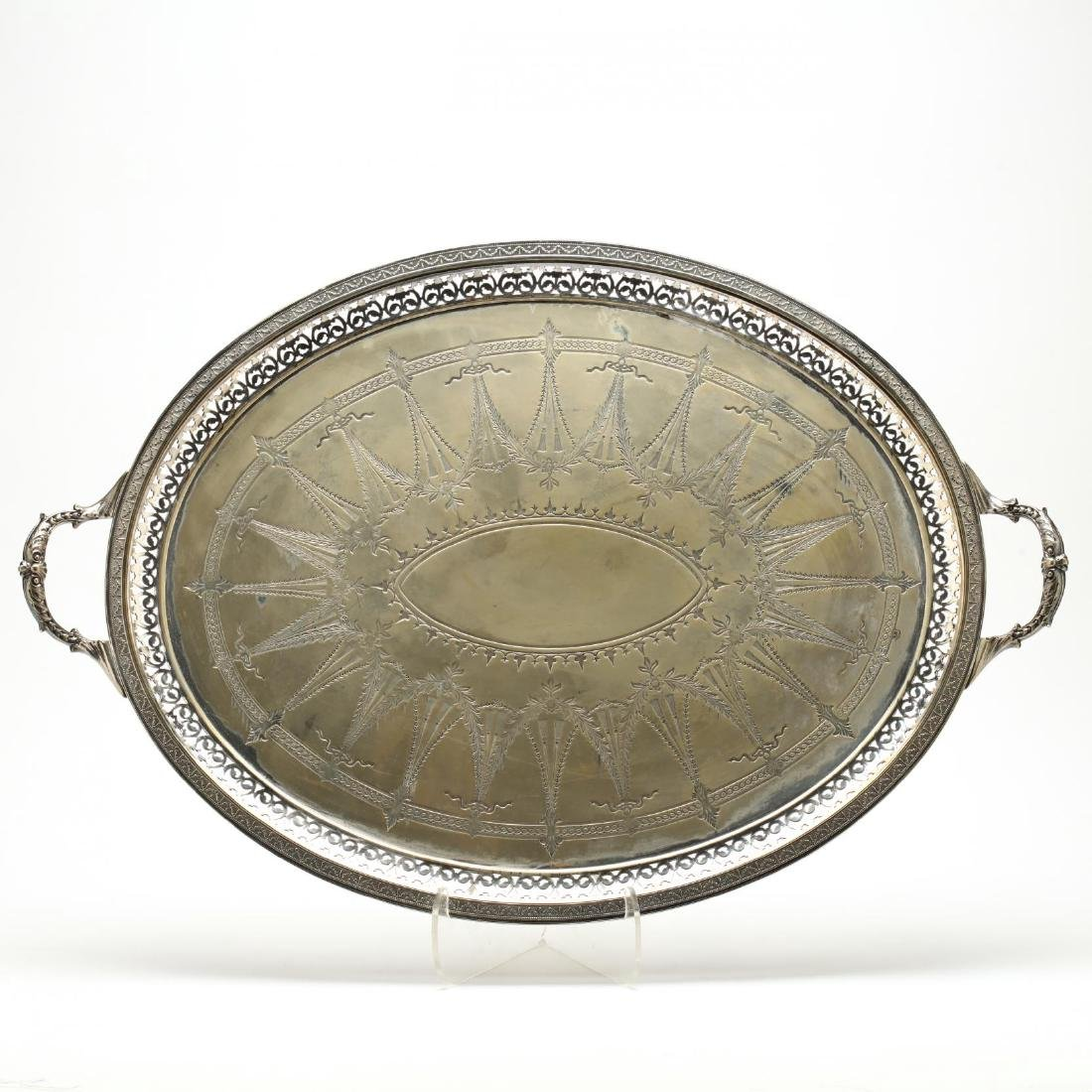 A Large Antique English Silverplate Tray