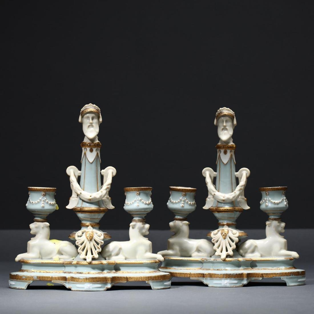 A Pair of Limoges Porcelain Candlesticks