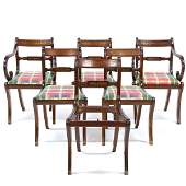 Set of Six Regency Style Brass Inlaid Dining Chairs