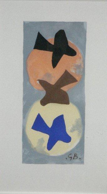 "5: Georges Braque (French 1882-1963), ""Three Birds,"" Li"