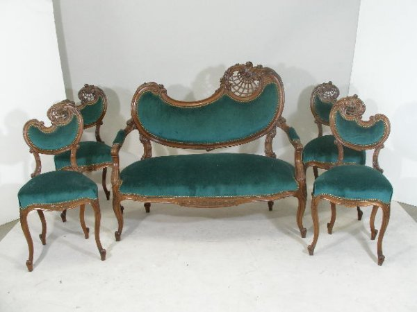 10: Victorian Five Piece Parlor Set, French, Late 19th