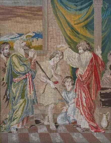 15: Antique Needlework Tapestry, 19th c.,