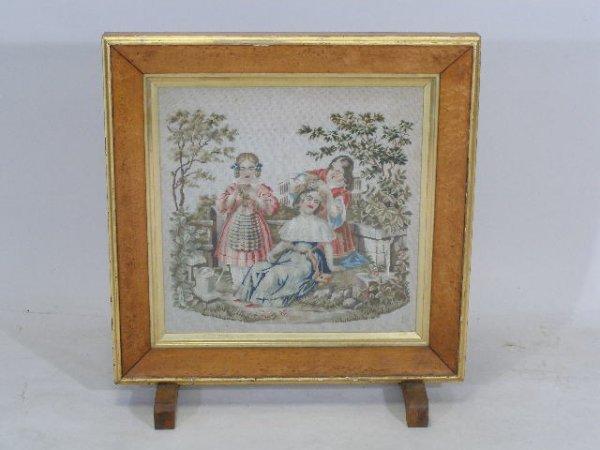 16: Victorian Firescreen w/Needlework Tapestry,