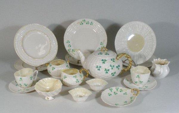 "17: Irish Belleek ""Shamrock"" Tea Set, w/Neptune, Limpet"