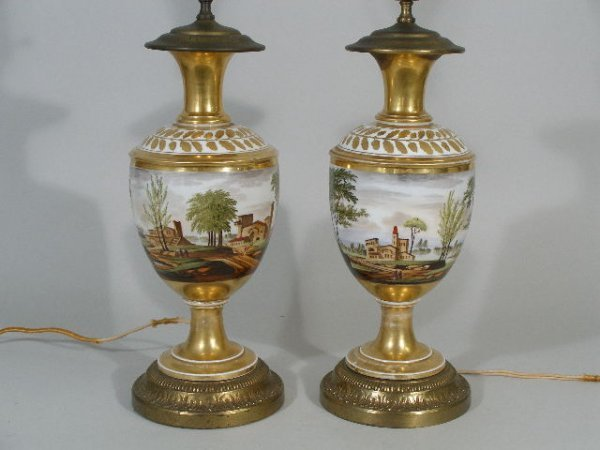 18: Pair of Hand Painted Porcelain Lamps, French, 19th
