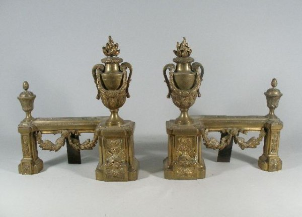 1002: Pair of Brass Chenets, French, Late 19th c.,