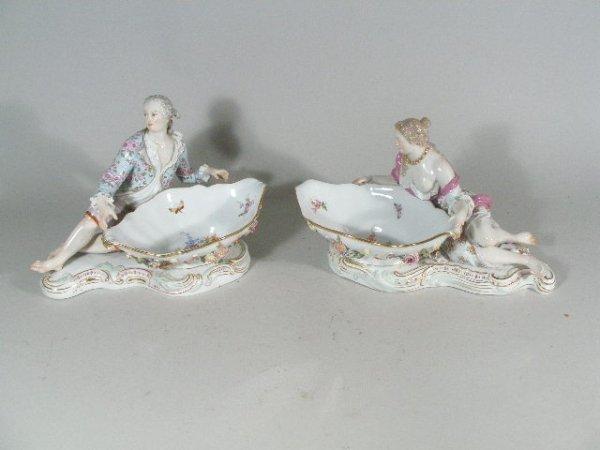 1011: Pair of Meissen Figural Sweet Meat Bowls, c.1870'
