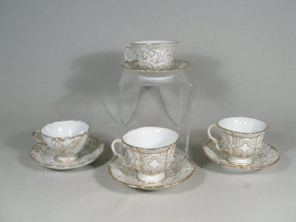 1014: Group of Four Meissen Cups and Saucers, 19th c.,