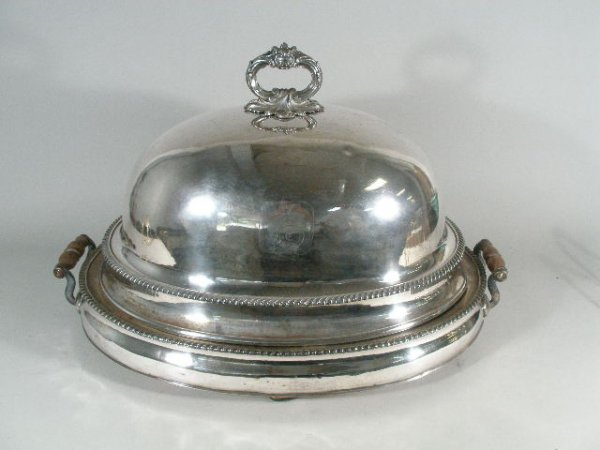 1020: Old Sheffield Plate Entrée Dome on Warming Tray B