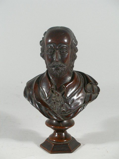 1064: Carved Wooden Bust of Shakespeare, c. 1900,