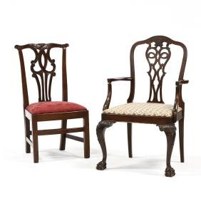 Two Chippendale Style Chairs