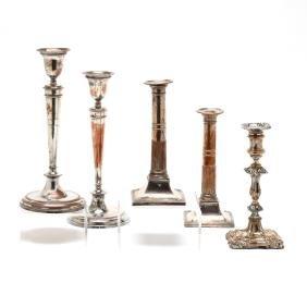 Five Antique Sheffield Plate Candlesticks