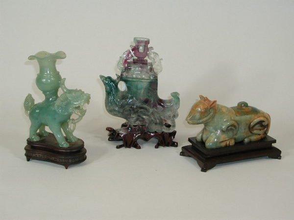 5: Three Pieces of Carved Stone w/Oriental Motif,