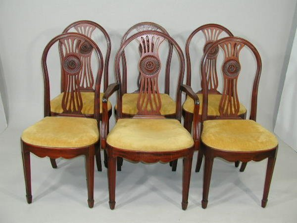 10: Set of Six Adams Style Dining Chairs,