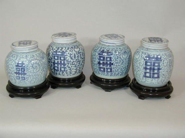 20: Four Ginger Jars w/Lids,