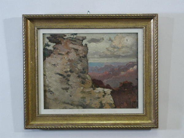 """75: Oil on Board, """"View of the Canyon,"""" att. to Elliott"""