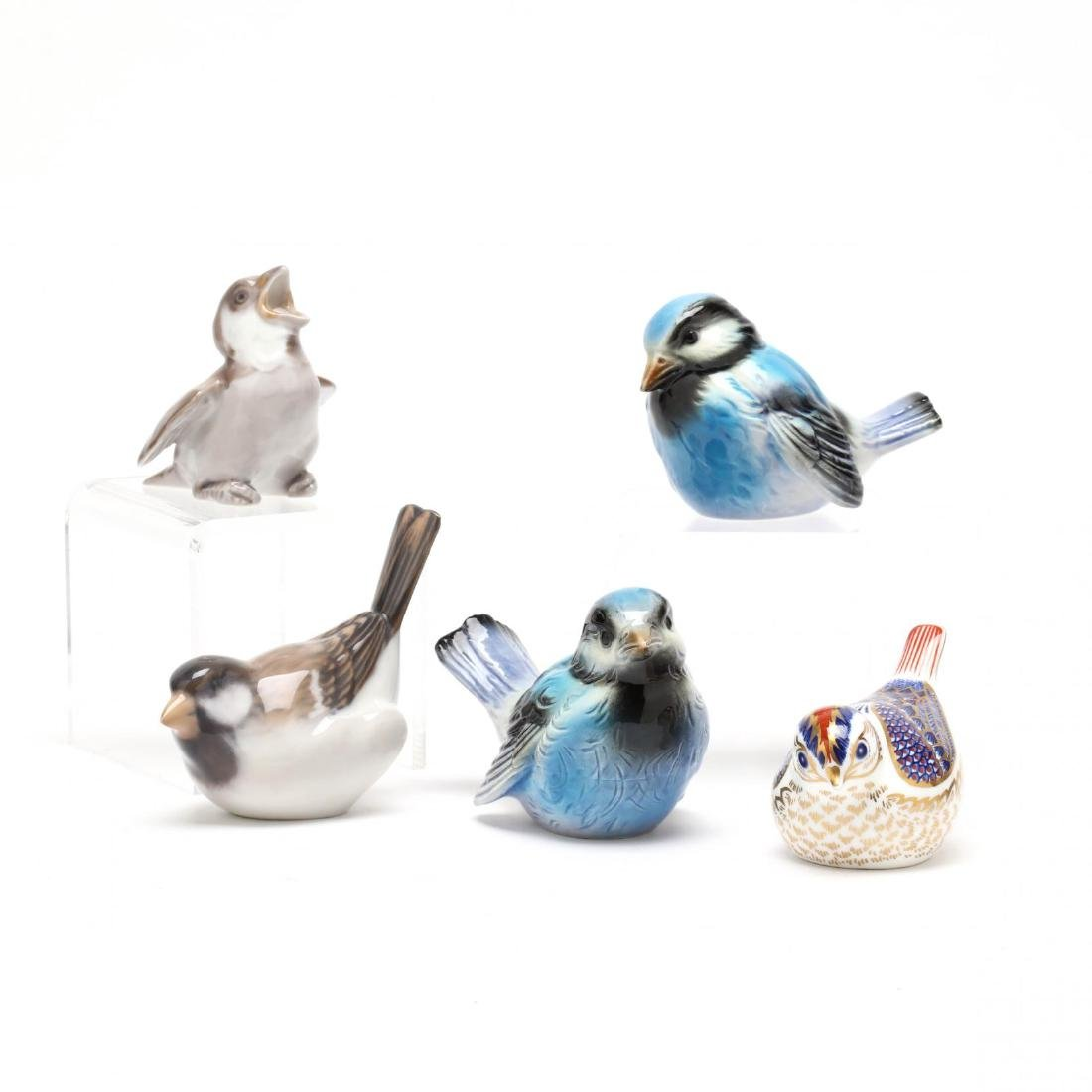 A Collection of Five Porcelain Birds