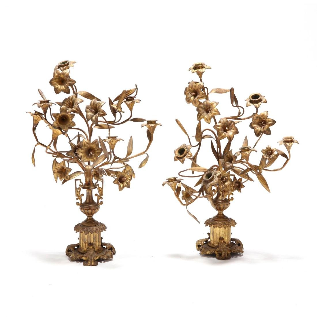 A Pair of French Gilt Bronze Candelabra