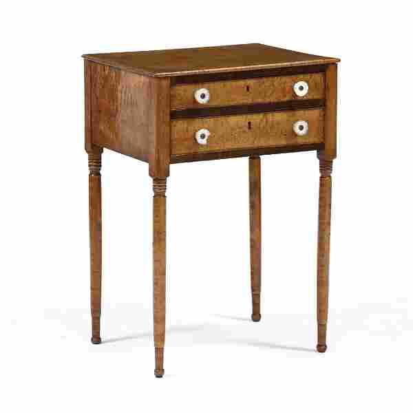 American Sheraton Maple Two Drawer Work Table