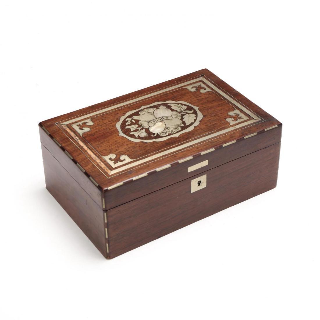 A Victorian Inlaid Cigar Box
