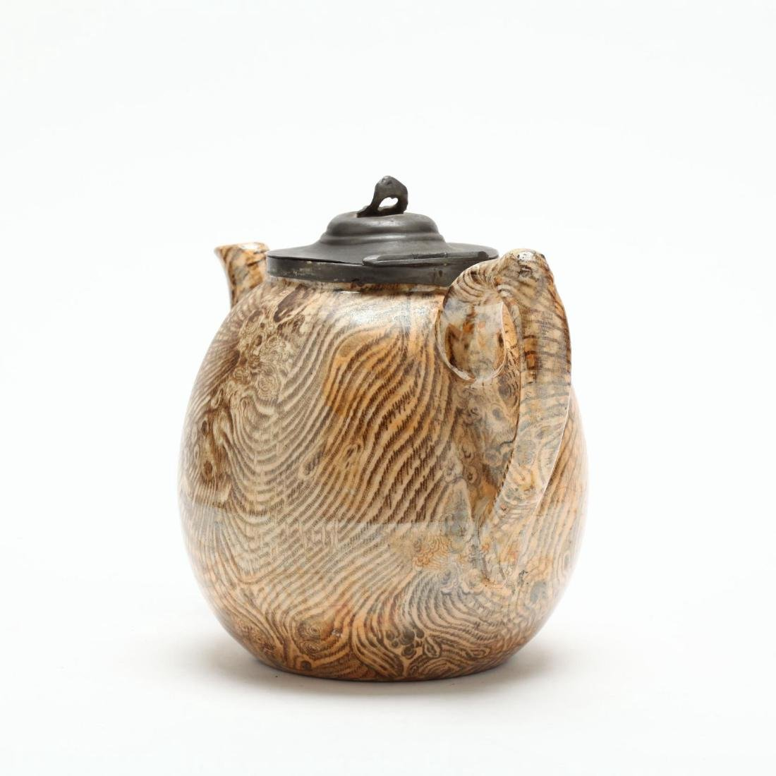 An Antique Faux Bois Staffordshire Teapot - 2