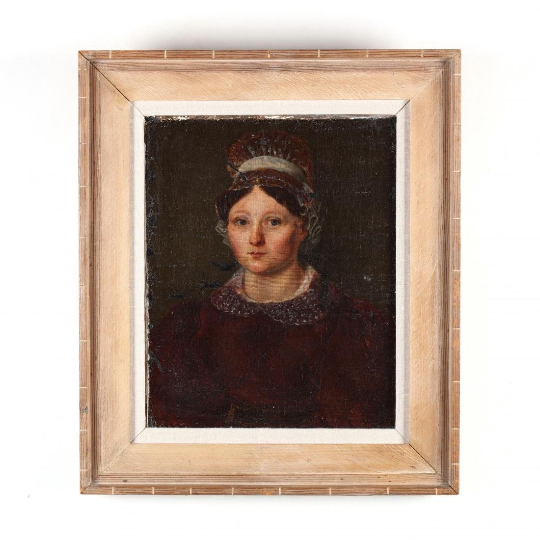 Antique Portrait of a Woman Wearing Red Dress and