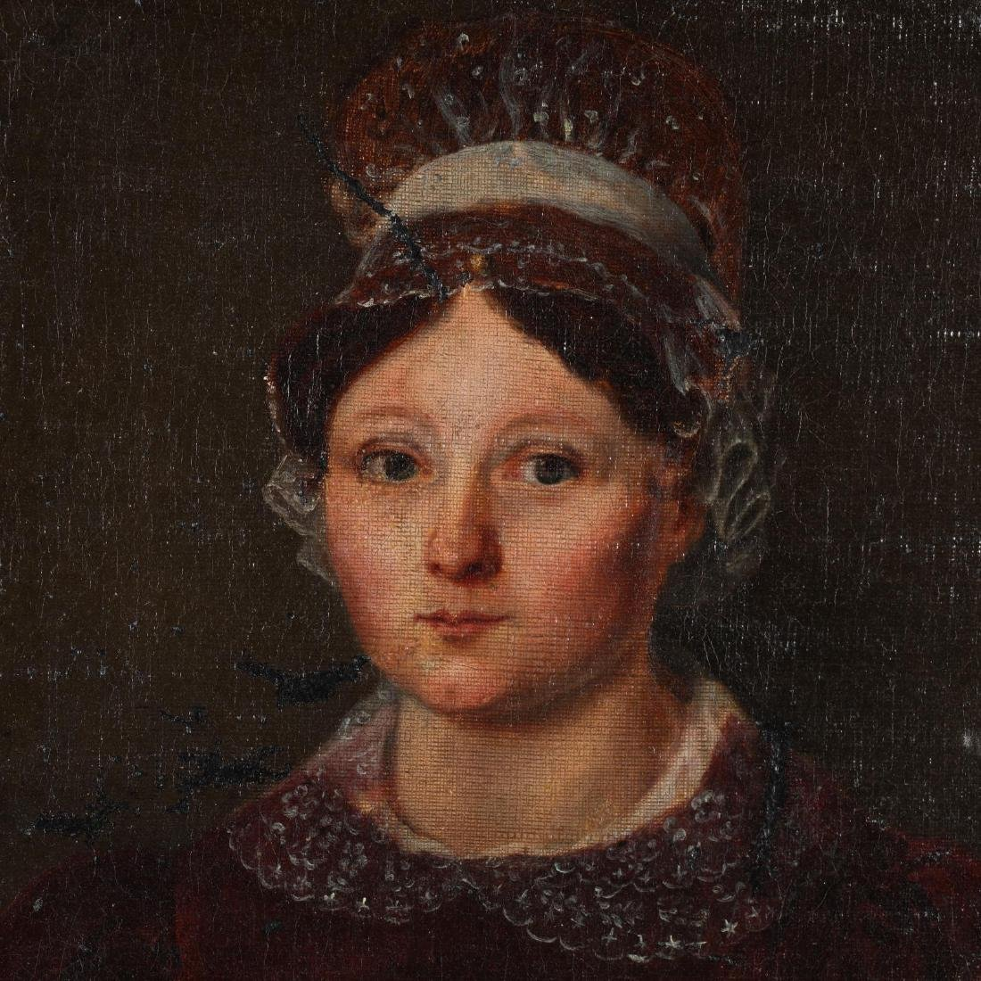 Antique Portrait of a Woman Wearing Red Dress and - 2