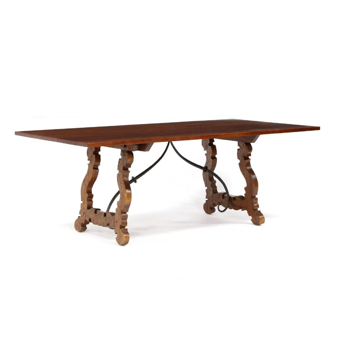 Spanish Style Carved Trestle Base Dining Table