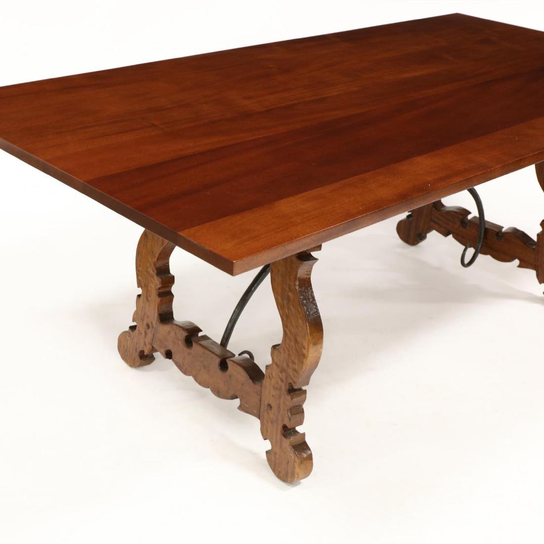 Spanish Style Carved Trestle Base Dining Table - 2