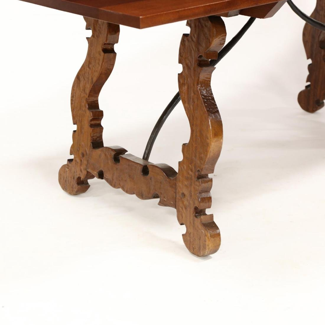 Spanish Style Carved Trestle Base Dining Table - 3