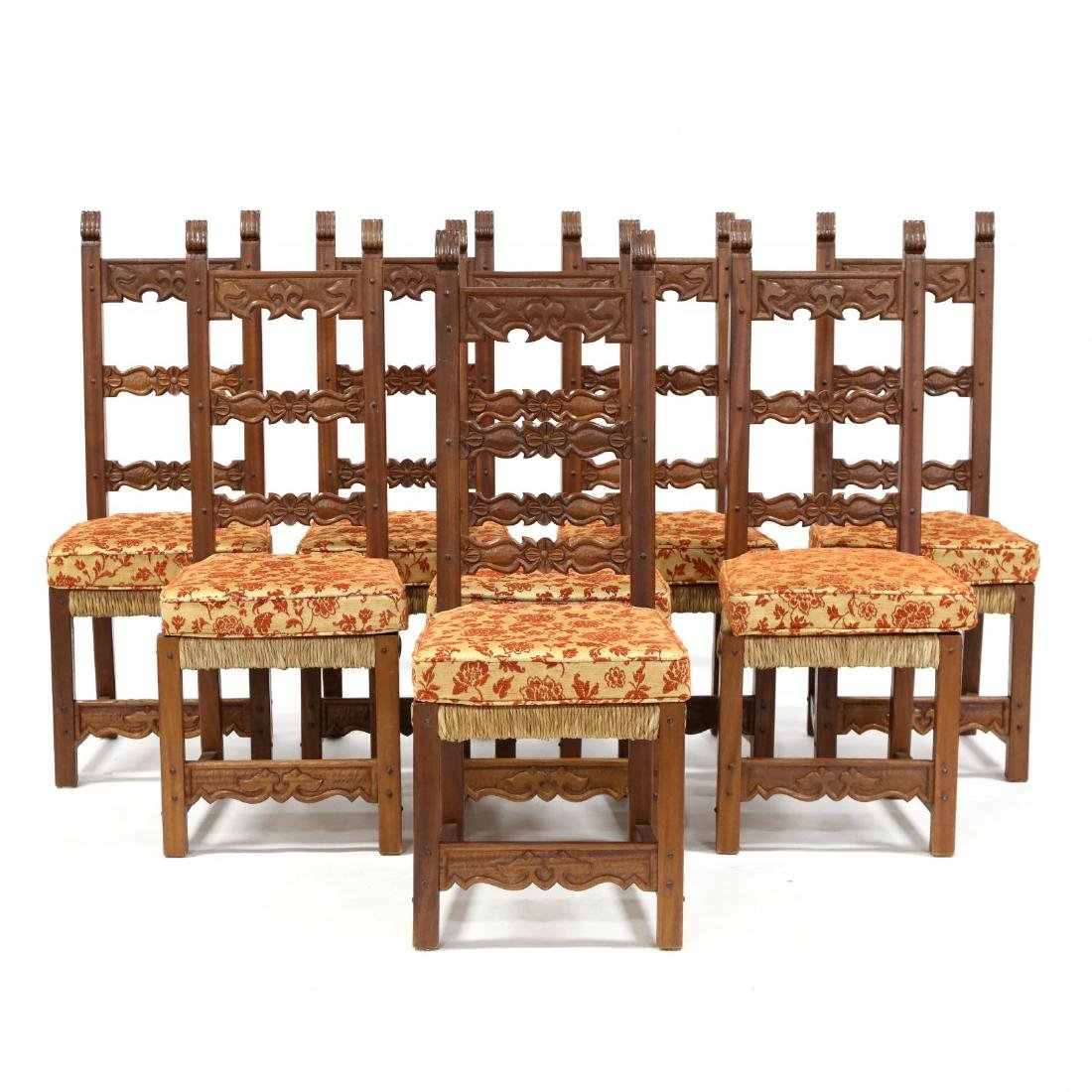 Set of Eight Spanish Style Carved Dining Chairs