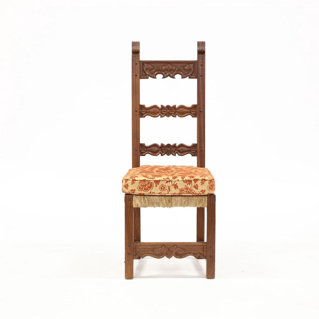 Set of Eight Spanish Style Carved Dining Chairs - 2