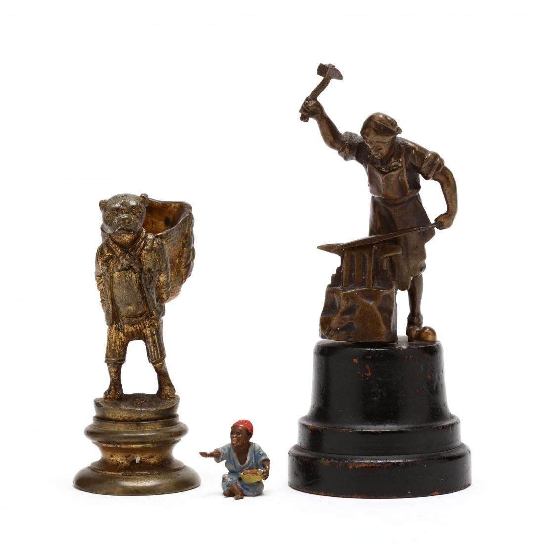 Three Antique Bronze Cabinet Sculptures
