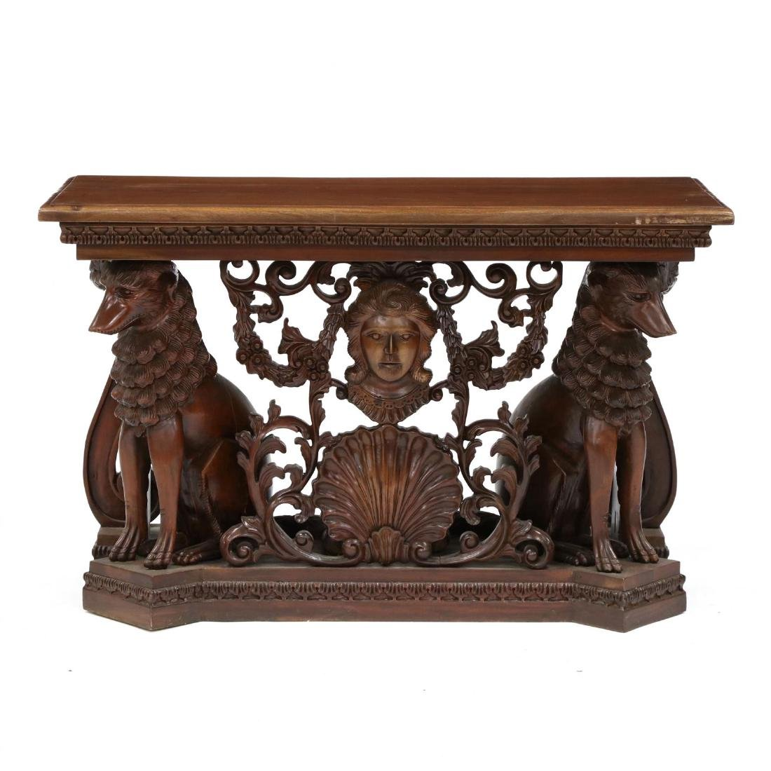 Continental Style Carved Mahogany Console Table