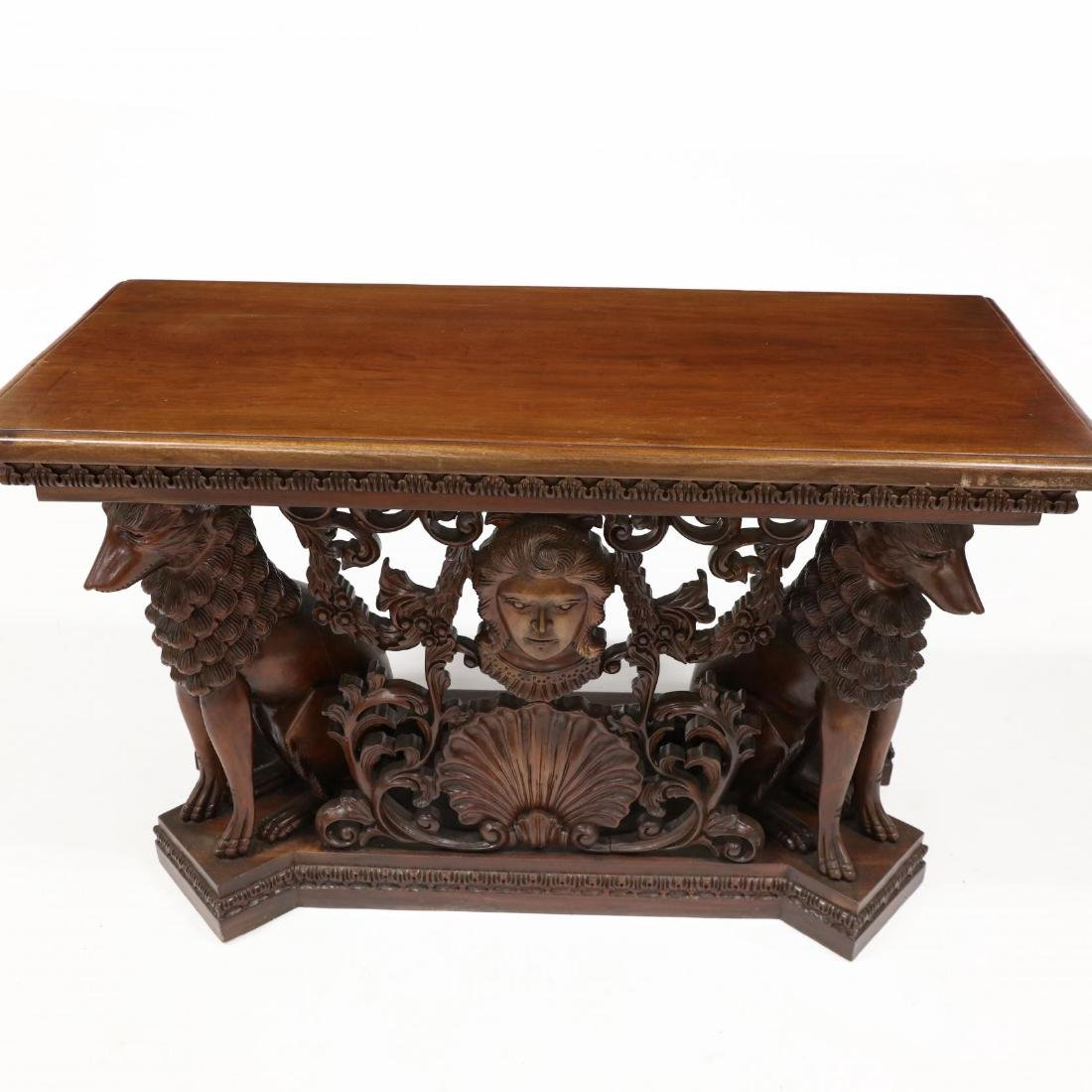 Continental Style Carved Mahogany Console Table - 3