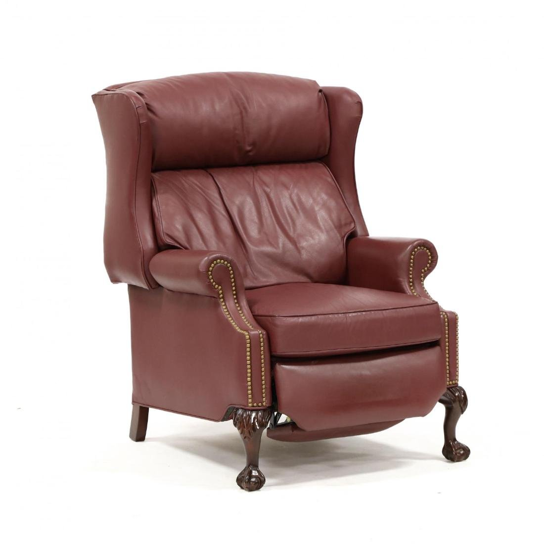 Leathercraft, Chippendale Style Wing Back Recliner