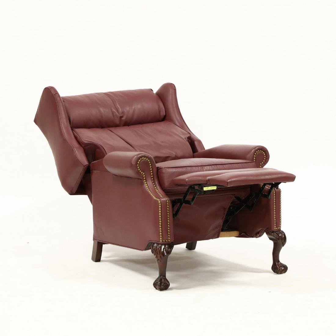 Leathercraft, Chippendale Style Wing Back Recliner - 2