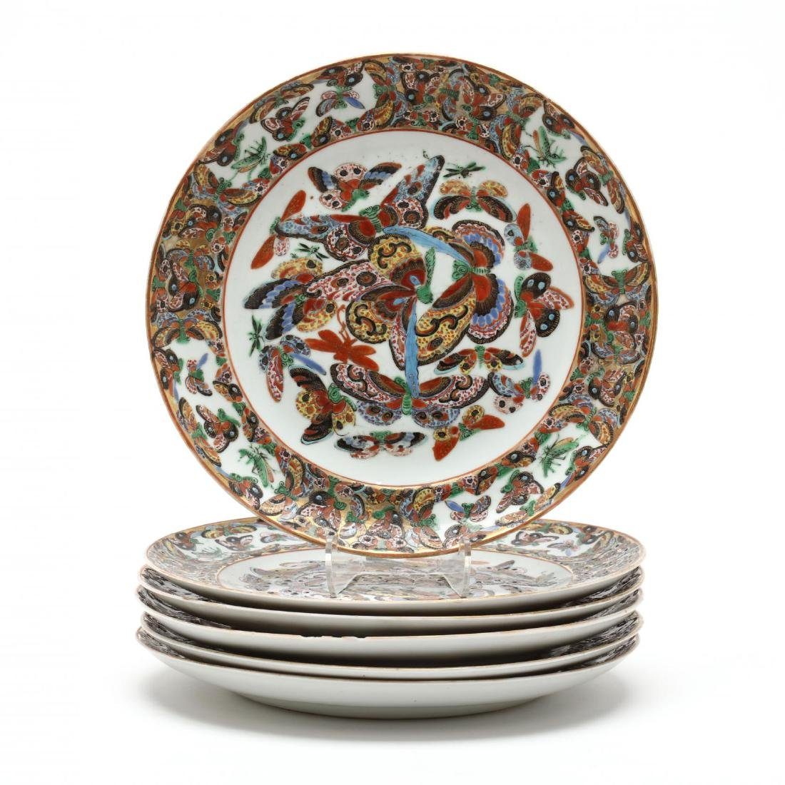 Six Chinese Rose Canton Butterfly Porcelain Plates