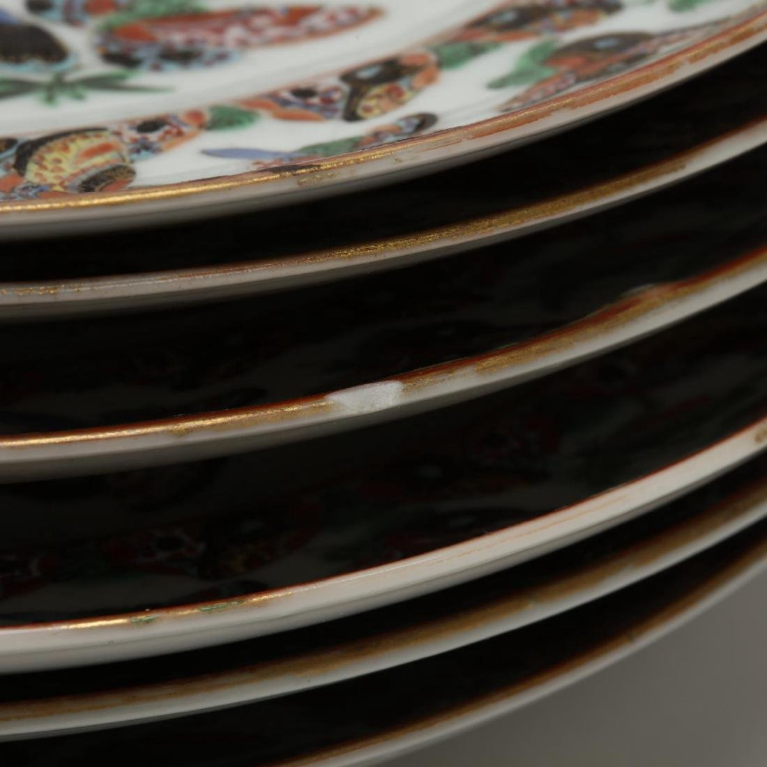 Six Chinese Rose Canton Butterfly Porcelain Plates - 3