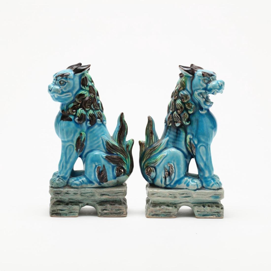 A Pair of Turquoise Blue Foo Lions - 2