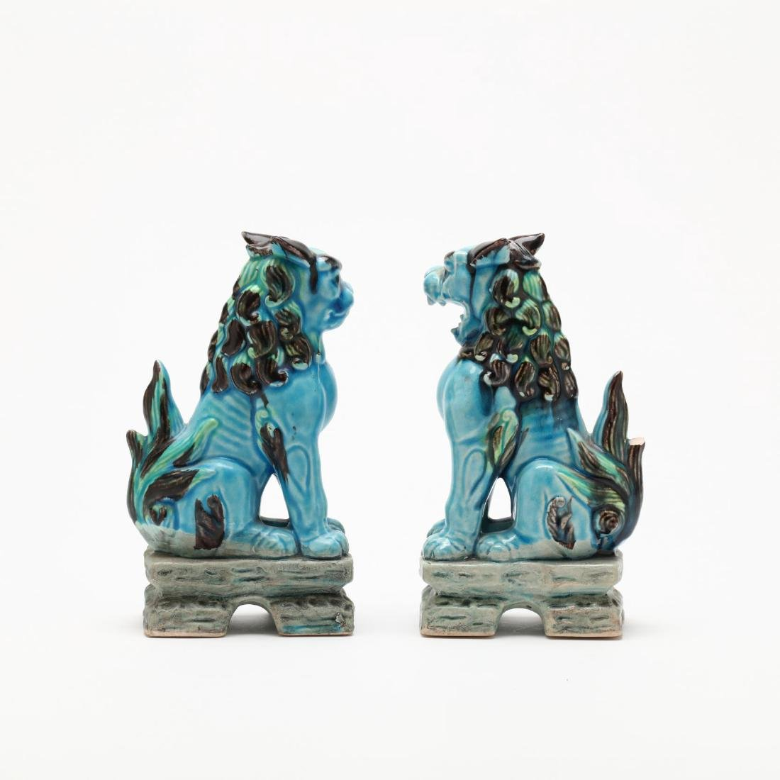 A Pair of Turquoise Blue Foo Lions - 3
