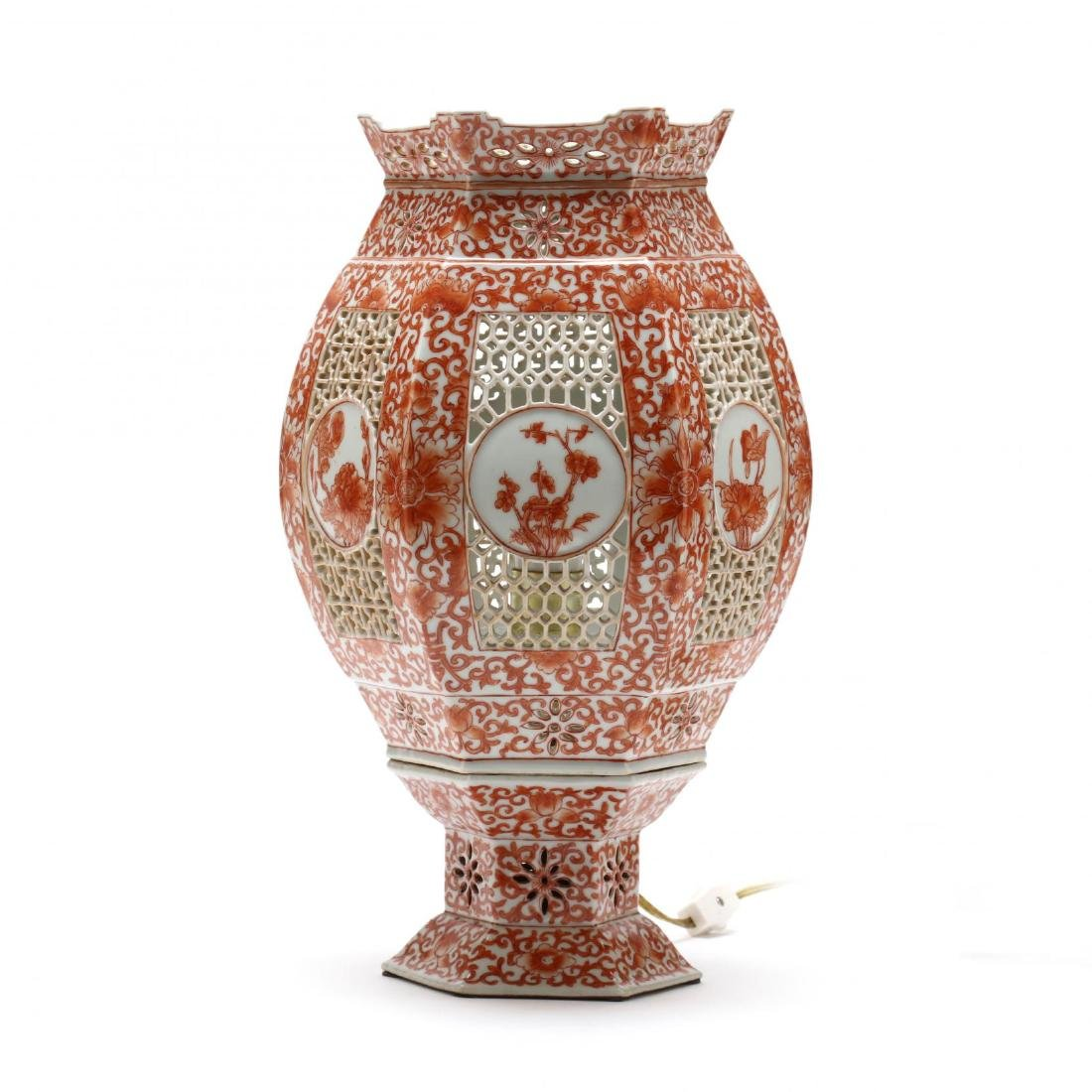 A Chinese Iron Red on White Ground Porcelain Lamp