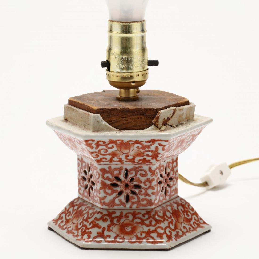 A Chinese Iron Red on White Ground Porcelain Lamp - 2