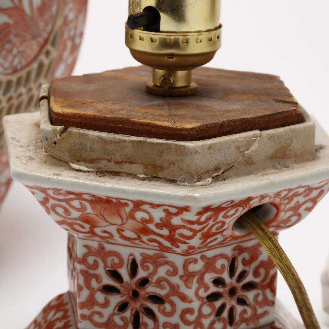 A Chinese Iron Red on White Ground Porcelain Lamp - 4