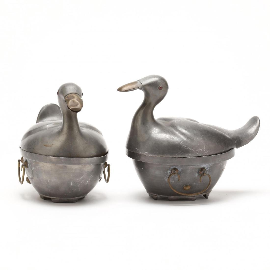 A Pair of Chinese Pewter Duck Containers