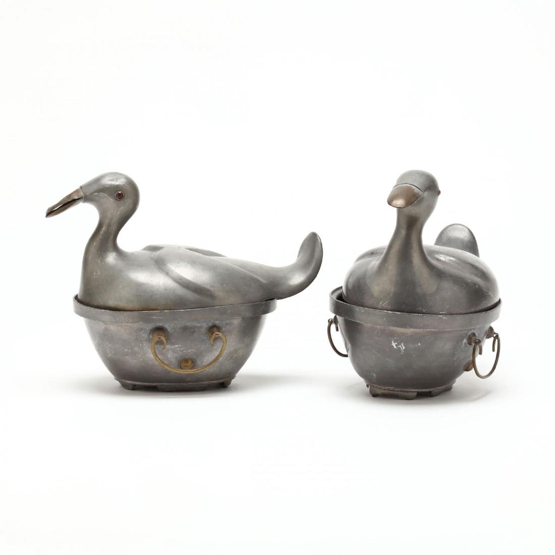 A Pair of Chinese Pewter Duck Containers - 2
