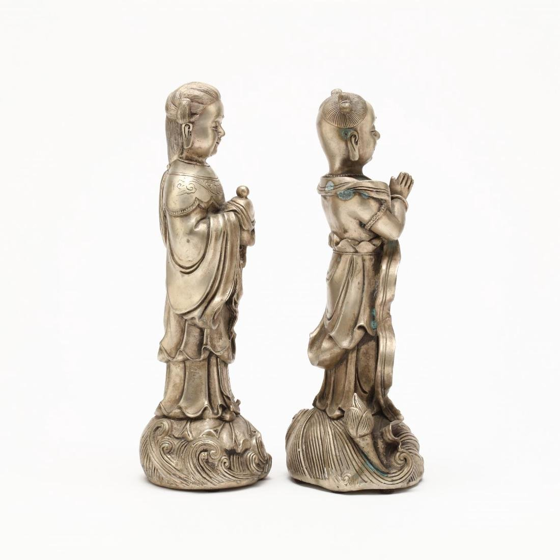 A Pair of Chinese Silvered Brass Statues - 2