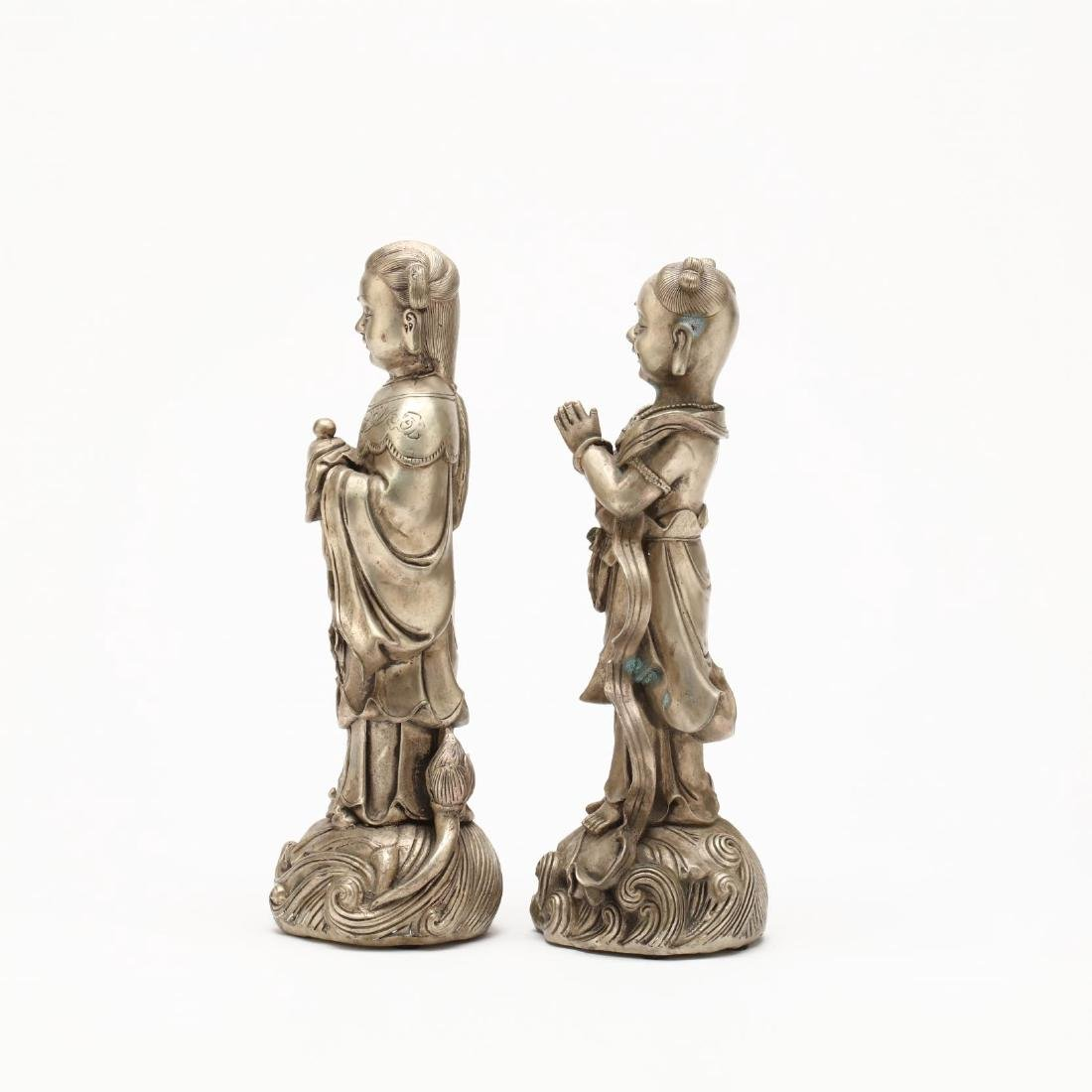 A Pair of Chinese Silvered Brass Statues - 4