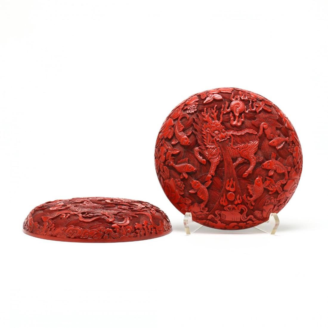 A Chinese Round Carved Red Lacquer Box - 3