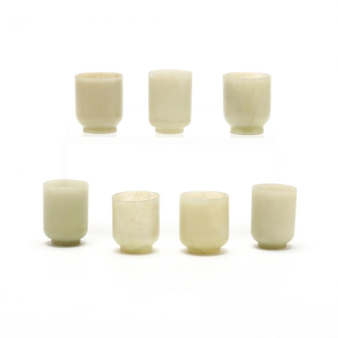 A Set of Seven Small Jade Cups